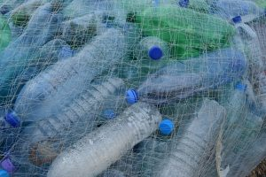 plastic bottles, fishing net, netting